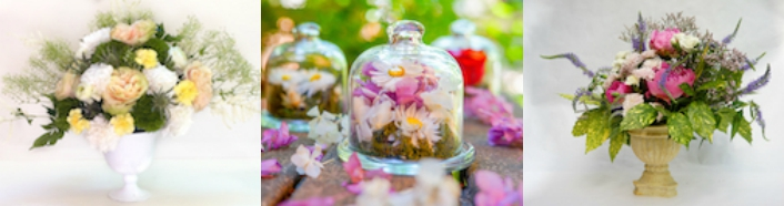 copa de flores y campana de cristal