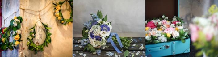 corona de flores, ramo de flores y maleta con flores