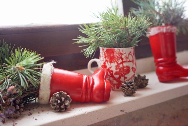 bota roja navidad