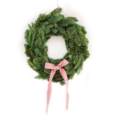 corona de navidad lazo rosa